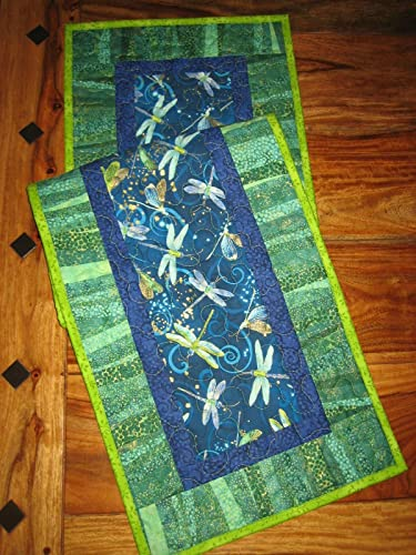Quilted Table Runner, Blue Green Dragonflies 13 X 47 Coffee Dining Table  Reversible Cotton