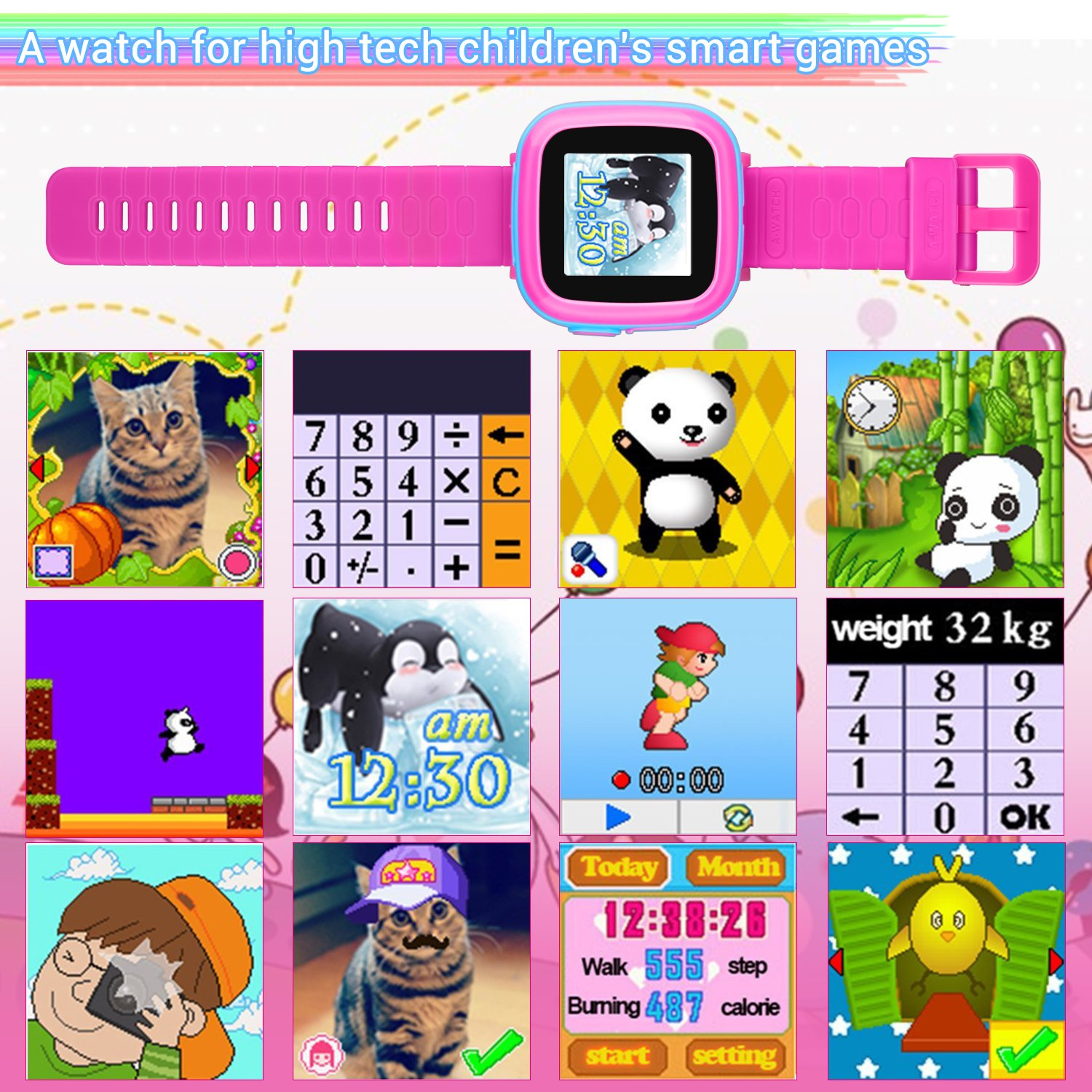 "Kids Game Watch Smart Watch For Kids Children's Birthday Gift With 1.5 "" Touch Screen And 10 Games, Children's Watch Pedometer Clock Smart Watch Kids Toys Boys Girls gift.(joint pink) by KKLE (Image #2)"