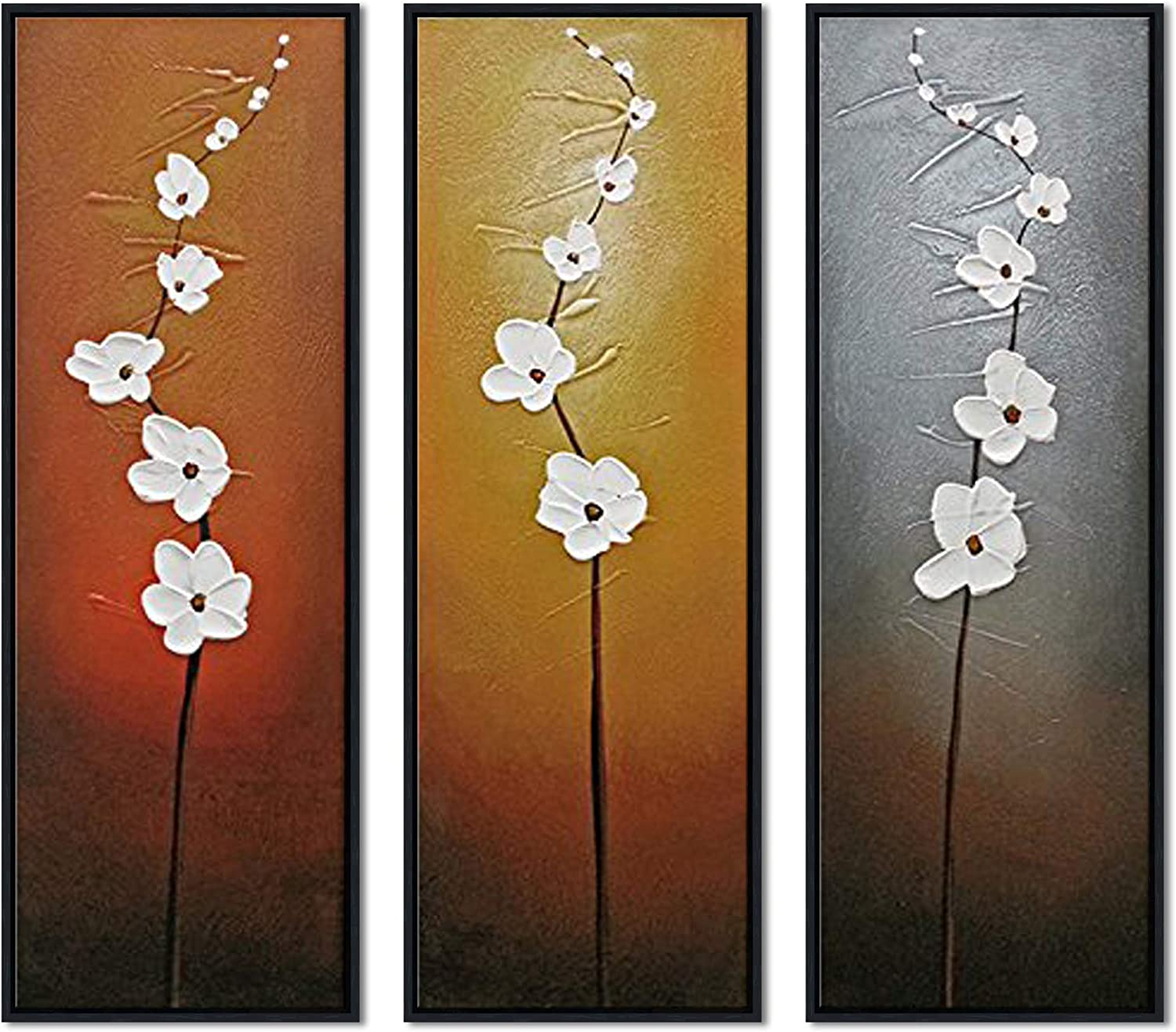 Wieco Art Modern Contemporary Flowers Framed Artwork 3 Panels 100% Hand Painted Abstract Floral Oil Paintings on Canvas Wall Art D¨¦cor for Living Room Home Decorations Black FL3086-3090-BF