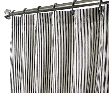 Amazon Decorative Things Shower Curtain Unique Fabric Designer Modern Black And White Striped Ticking 72 Inches Home Kitchen