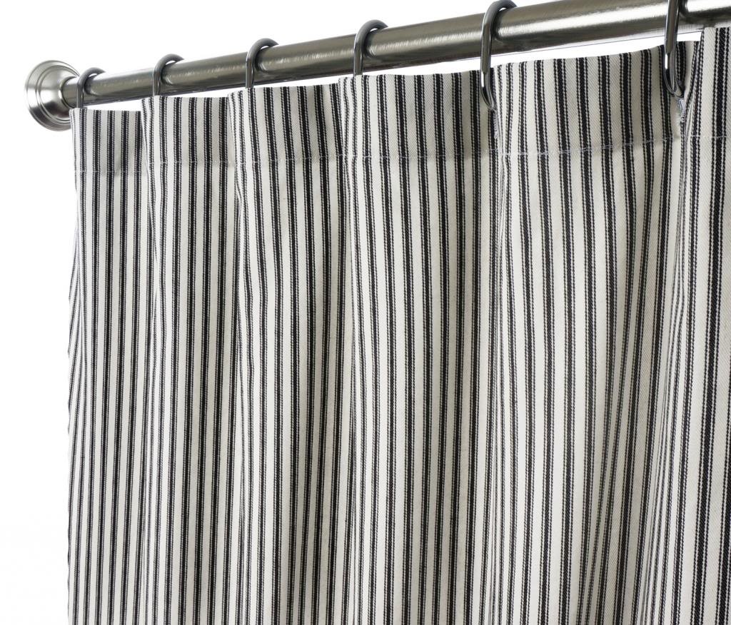 Decorative Things Extra Long Shower Curtain Unique Designer Modern Black and White Striped Ticking 84 Inches