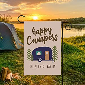 NTD Personalized Garden Flag-Custom Personalized Happy Campers Yard Flag/Camping/RV/Pop Up/Outdoors/Vacation/Summer/Winter/Yard Art/Garden Flag