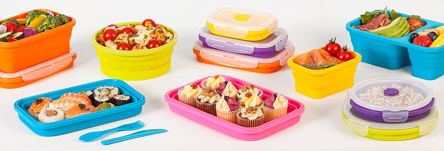 Amazoncom Wowzr Flat Stacks Collapsible Food Storage Containers