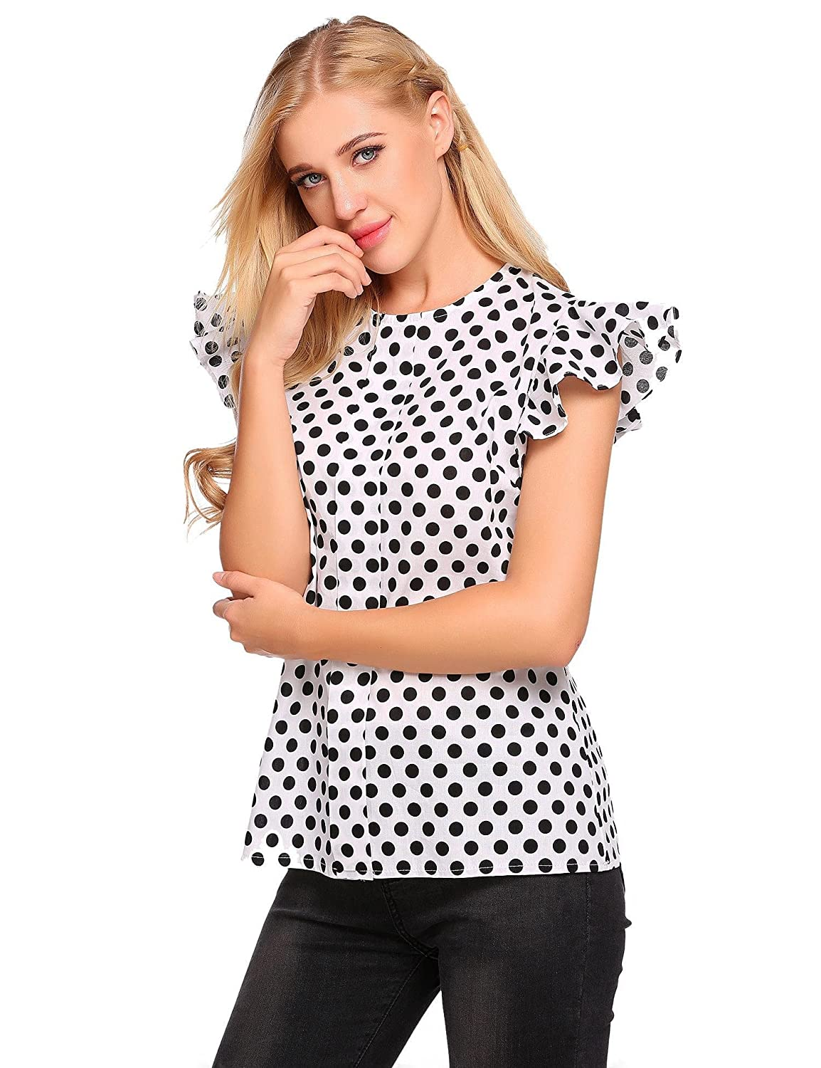 Meaneor Women Polka Dot Shirts Casual Ruffle Sleeve O Neck Pullover Blouse