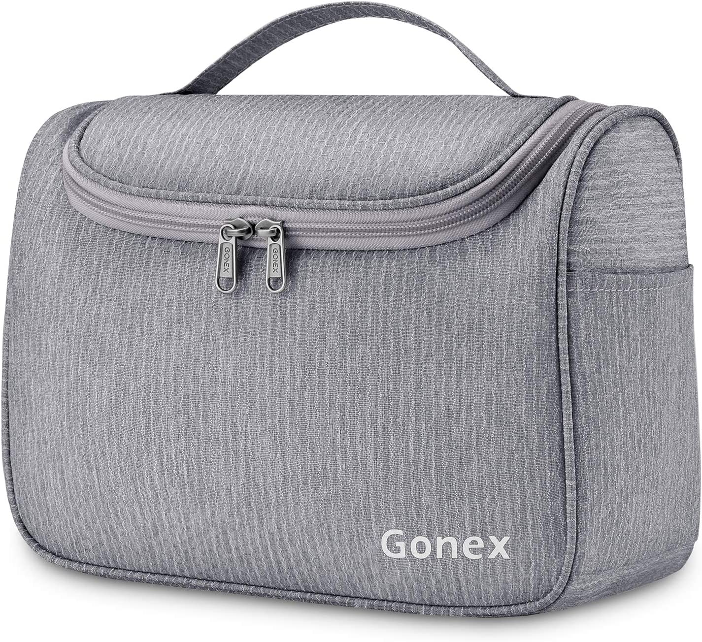 Gonex Hanging Travel Toiletry Bag for Women Men Family Cosmetics Makeup Bag Organizer Dopp Kit Pouch for Bathroom Water-Resistant with Strong Zippers Gray