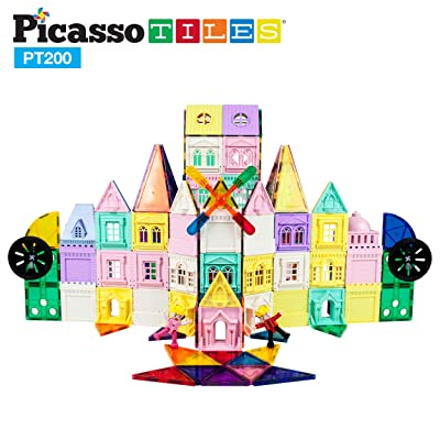 PicassoTiles 200 Piece Castle Click-in Set with 2 Figures, Car, and Windmill STEM Learning Playset Creative Child Brain Development Stacking Blocks Playboards PT200: Toys & Games