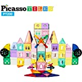 PicassoTiles 200 Piece Castle Click-in Set with 2 Figures, Car, and Windmill STEM Learning Playset Creative Child Brain Development Stacking Blocks Playboards PT200