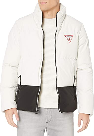 GUESS Mens Color Block Puffer Jacket with Hood