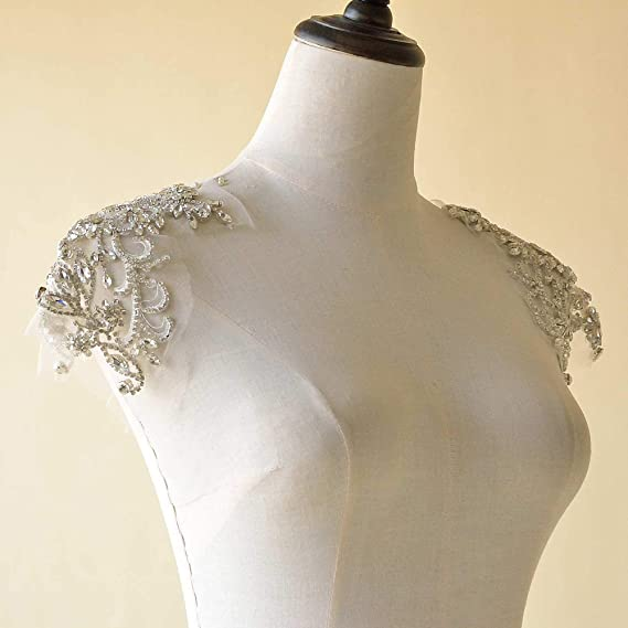 Sparkling Red Bodice Rhinestone Applique Heavy Beads Motif Diamante Lace Patch sewing on Bridal Wedding Ball Dress Gown