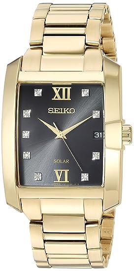 Seiko De los Hombres Solar Rectangular Dorado Caso Reloj