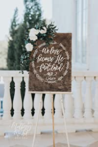 EricauBird Wall Art We Love Because He First Loved Us Sign, Rustic Wedding Signs, Bible Verse Sign, Wooden Wedding Sign, Farmhouse Decor- O7 QS Wood Plaque, Custom Gift