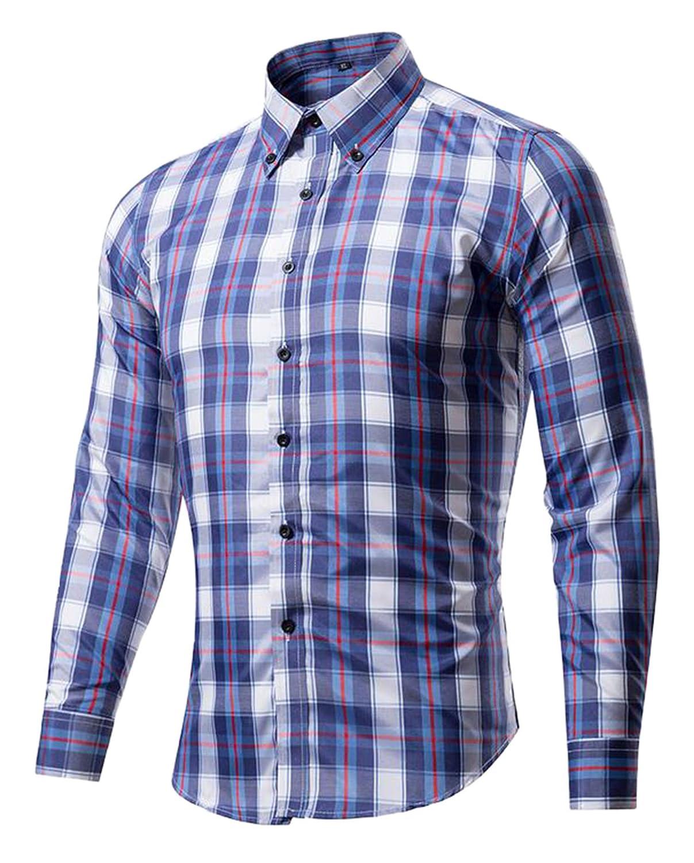 DD.UP Mens Stripes Cotton Plaid Button Casual Slim Fit Long Sleeved Shirt Dress Shirts