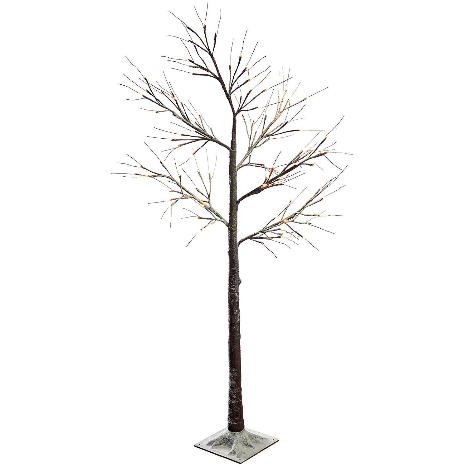 WeRChristmas Pre-Lit LED Twig Christmas Tree with Snow Effect Decoration, 2 feet/60 cm - Brown/White WRC-7464