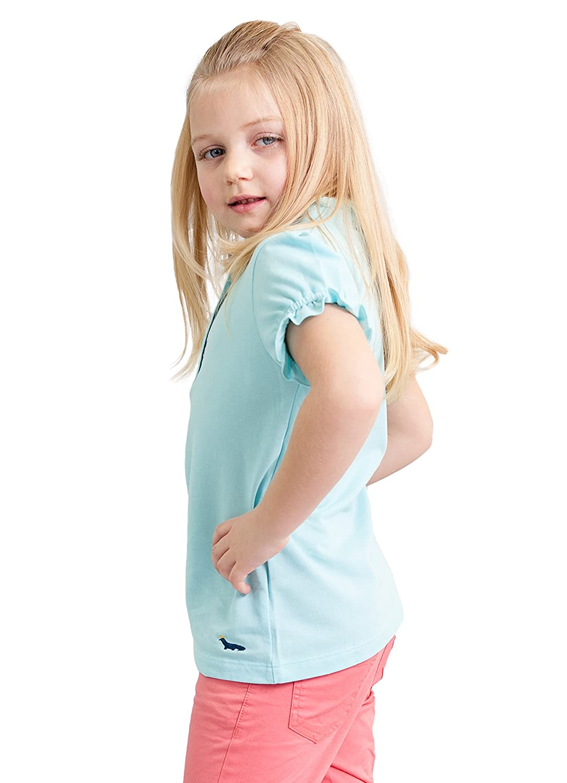 Dakomoda Girls Ruffled Light Blue Polo Shirt 100/% Pima Cotton