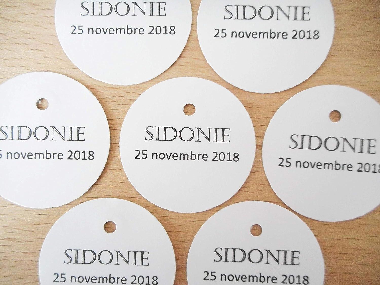 Lot 20 étiquettes papier personnalisées forme rond papier 7 coloris au choix écriture Castellar