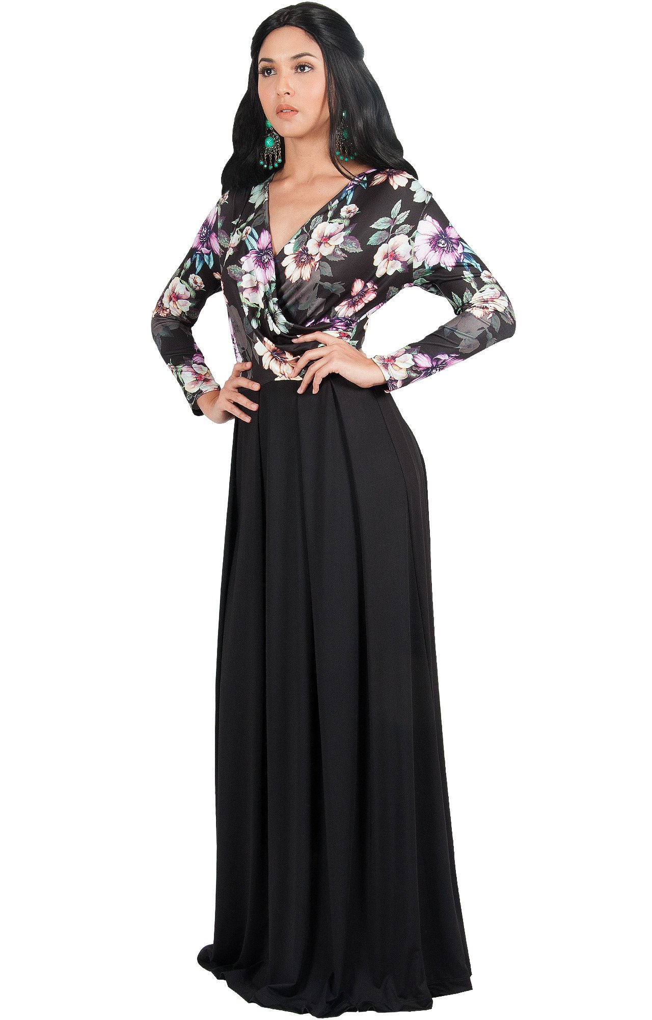 ebe27373335 ... Floral Print Wedding Guest Formal Cocktail Evening Floor Length Gown  Gowns Maxi Dress Dresses with Sleeves