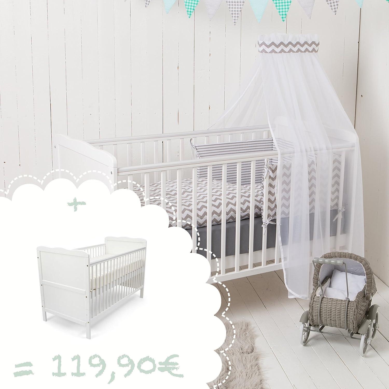 Babybett Wolke + Bett-Set Chevron Streifen