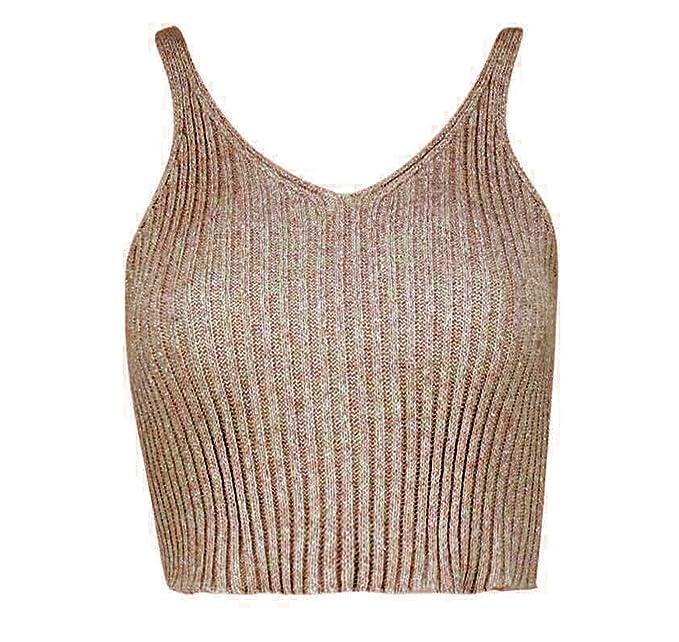 Womens Ladies Knitted Metallic Lurex Sleeveless Crop Top silver gold 8-14