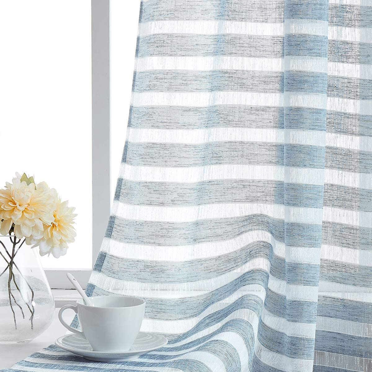 Amazon Com Fragrantex Blue Sheer Stripe Curtains 84 Inch For Bedroom Living Room Linen Horizontal Stripe White And Blue Curtain Voile Grommet Top 40 X 84 Inch 2 Panels Home Kitchen