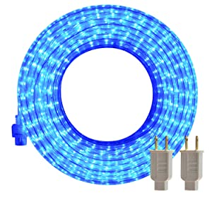 LED Rope Lights, 50ft Flat Flexible Light Strip, 2800K Blue, Water Resistant for Both Indoor/Outdoor Use, Inter-Connectable, UL Certified, Decorative Lighting for Any Location.