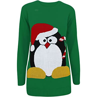 7b6d8340802 Oromiss Ladies Womens Knitted Christmas Jumper Candy Cane Penguin Novelty Xmas  Sweater X24  Amazon.co.uk  Clothing