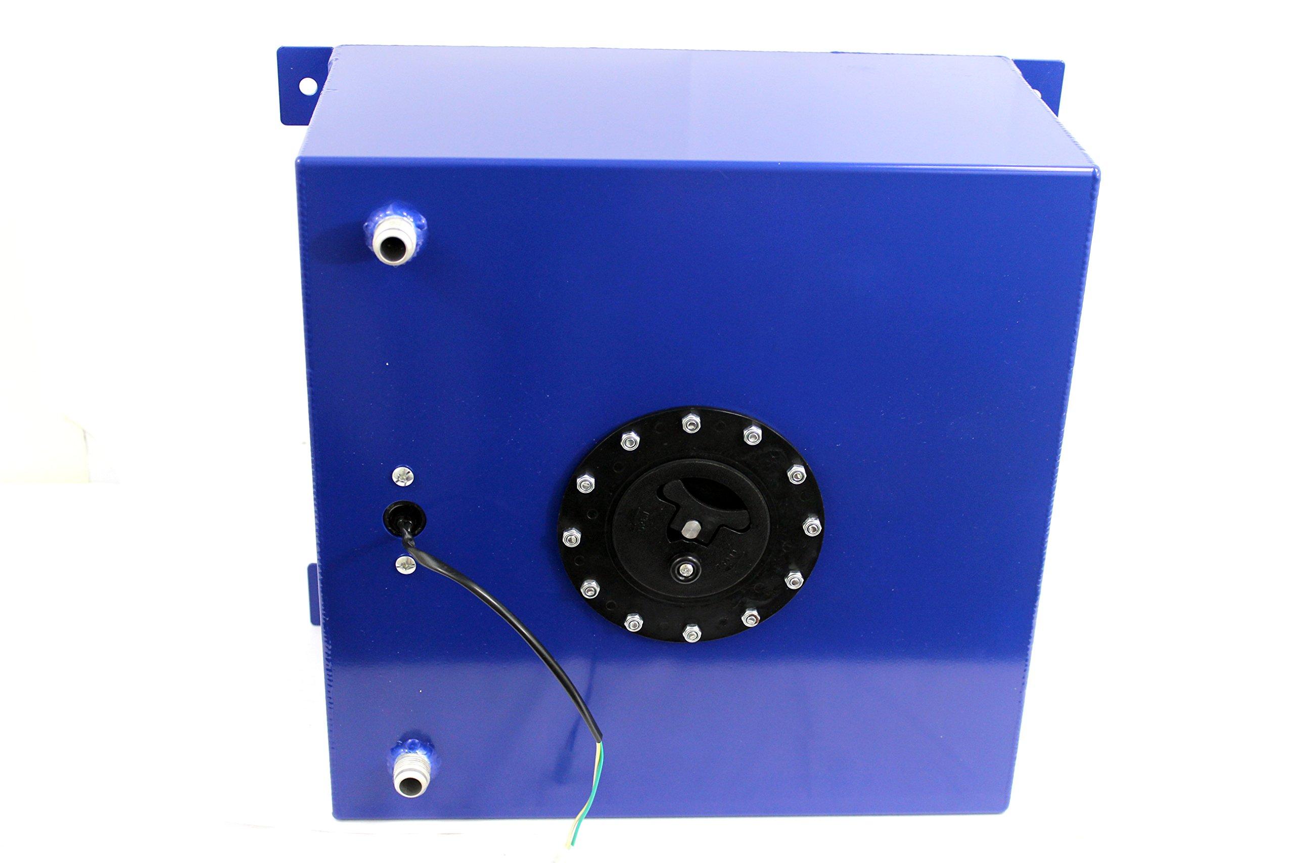 10 Gallon OEM Polished Aluminum Fuel Cell Gas Tank & Sender Hot Rod Rat Rod V8 Blue by DEMOTOR