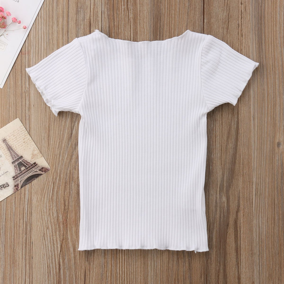 Hopiumy Toddler Baby Girls Short Sleeve Shirts Striped Ruffle Tee Cotton Blouse