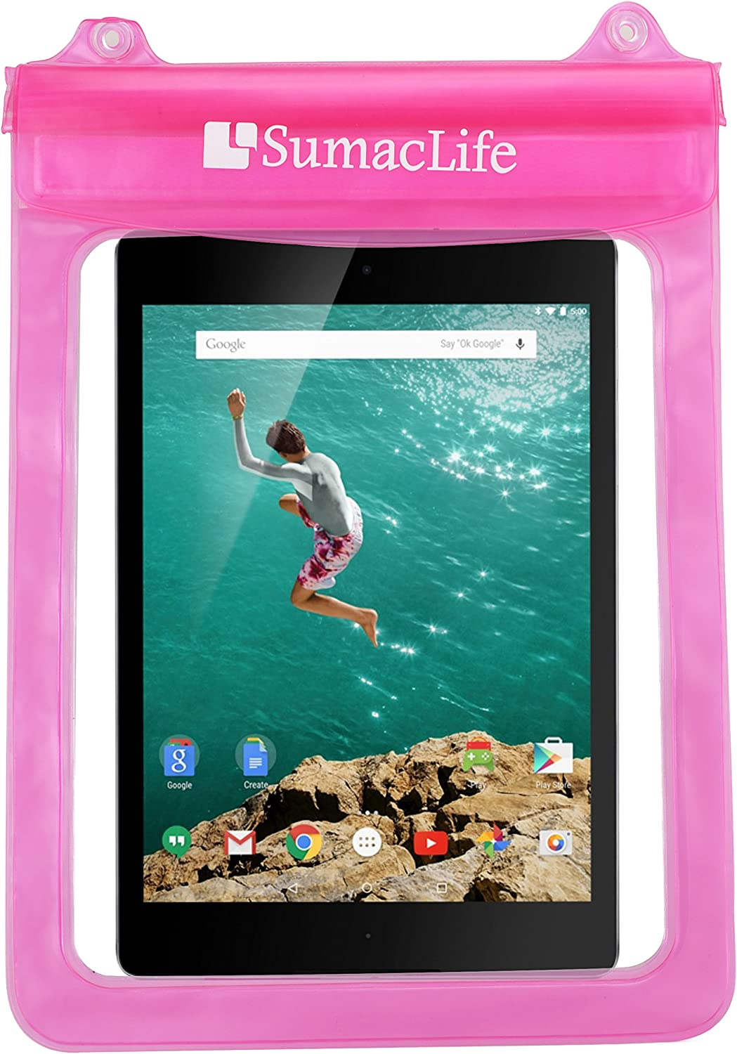 SumacLife Waterproof Pouch Bag Case for Dell Venue 11 Pro 4th Gen 10.8 inch, Microsoft Surface RT 2 3, Lenovo Miix 2 11 inch 10.1'', A10, Thinkpad 10, Yoga Tablet 10 HD Plus, Yoga Tablet(Pink)
