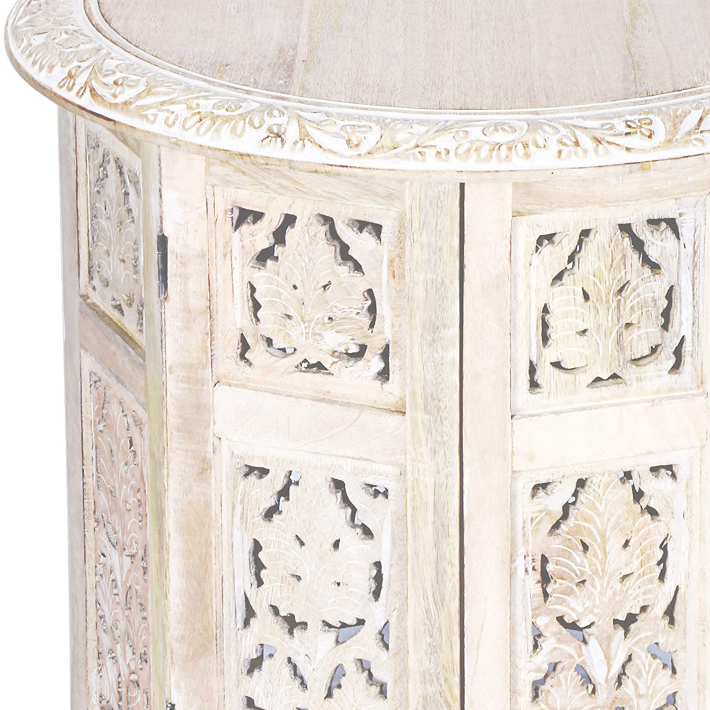 Marrakesch Orient /& Mediterran Interior Tavolino Marocchino in Legno Ashkar 45cm Rotondo Piano Pieghevole,Orientale in Bianco. Tavolino Tondo Orientale con Struttura Pieghevole