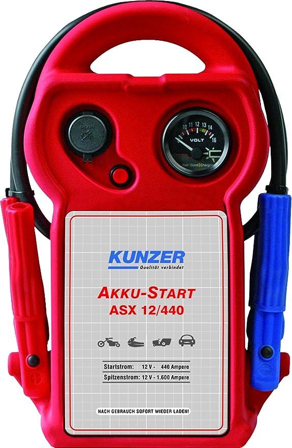 Kunzer Asx 12 440 Akku Start Tragbar 12v 1 600 440 A Startgerät Mit Austauschbarer Agm Batterie Auf Blei Säure Basis Auto