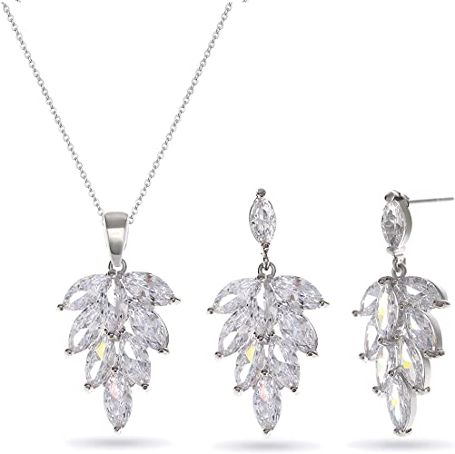 Clear Crystal Rhinestone Necklace Earrings Wedding Bridal Party Prom Jewelry Set