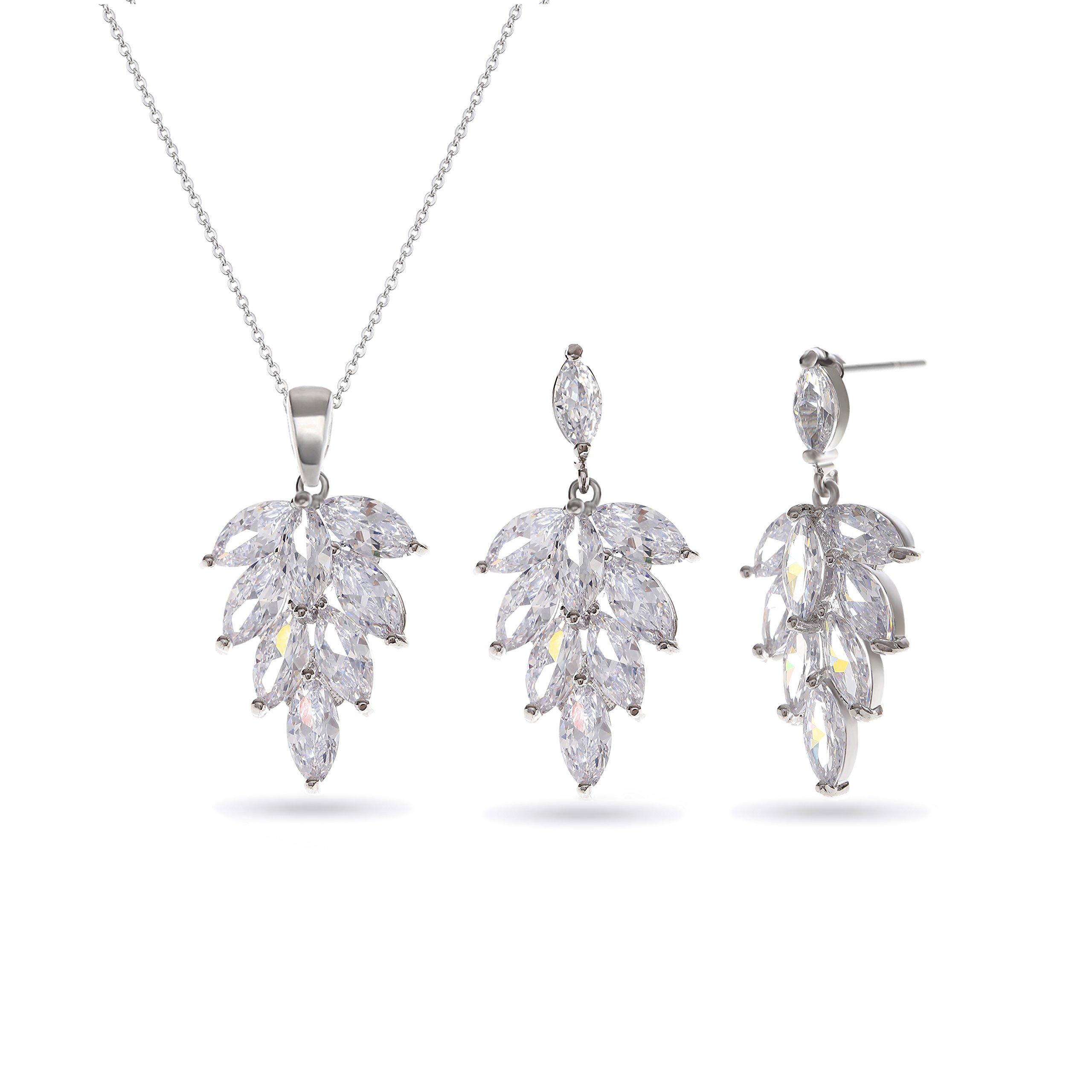 MYKEA Jewelry Set Wedding 925 Sterling Silver Leaf Crystal CZ Pendant Necklace Earrings for Women Girls Gift Idea