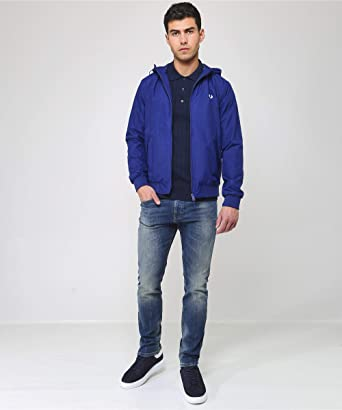 Fred Perry J5513-Hooded Brentham Jacket-600-S Chaqueta, Azul ...