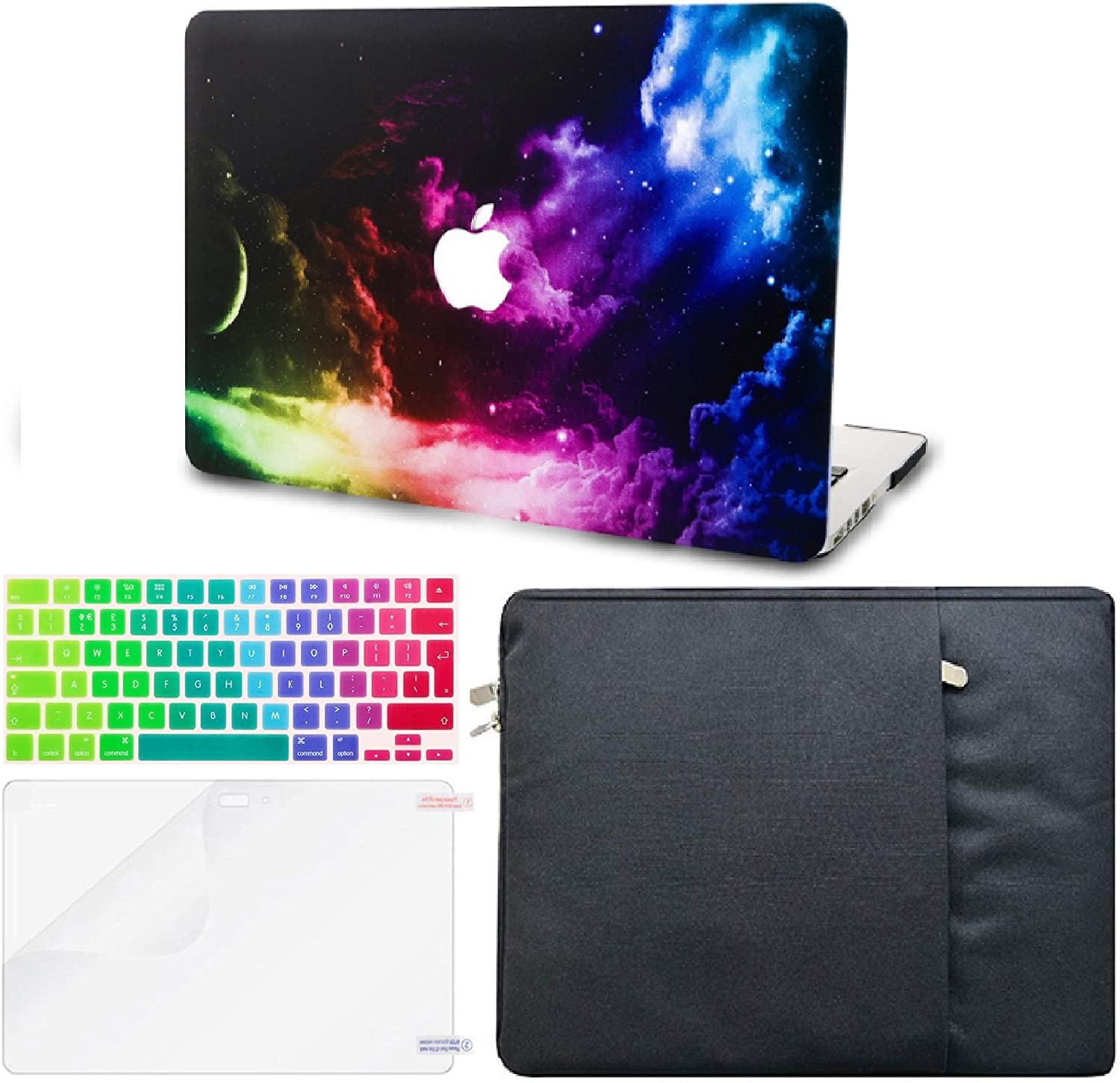 "KECC Laptop Case for MacBook Pro 13"" (2020, Touch Bar) w/Keyboard Cover + Sleeve + Screen Protector (4 in 1 Bundle) Hard Shell A2289/A2251 (Colorful Space)"