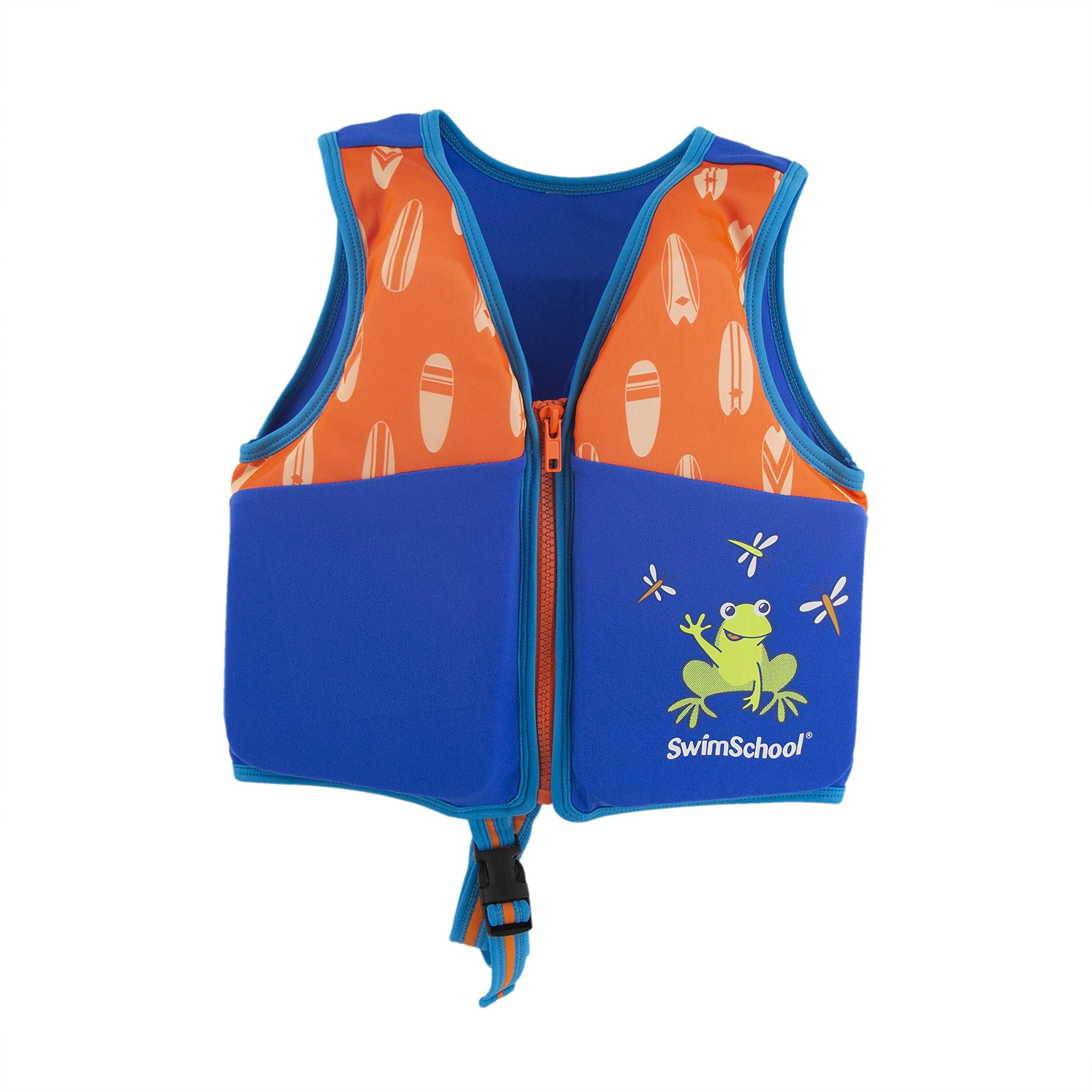 SwimSchool New & Improved Swim Trainer Vest, Flex-Form, Adjustable Safety Strap, Easy on and Off, Small/Medium, Up to 33 lbs., Blue/Orange by SwimSchool (Image #5)