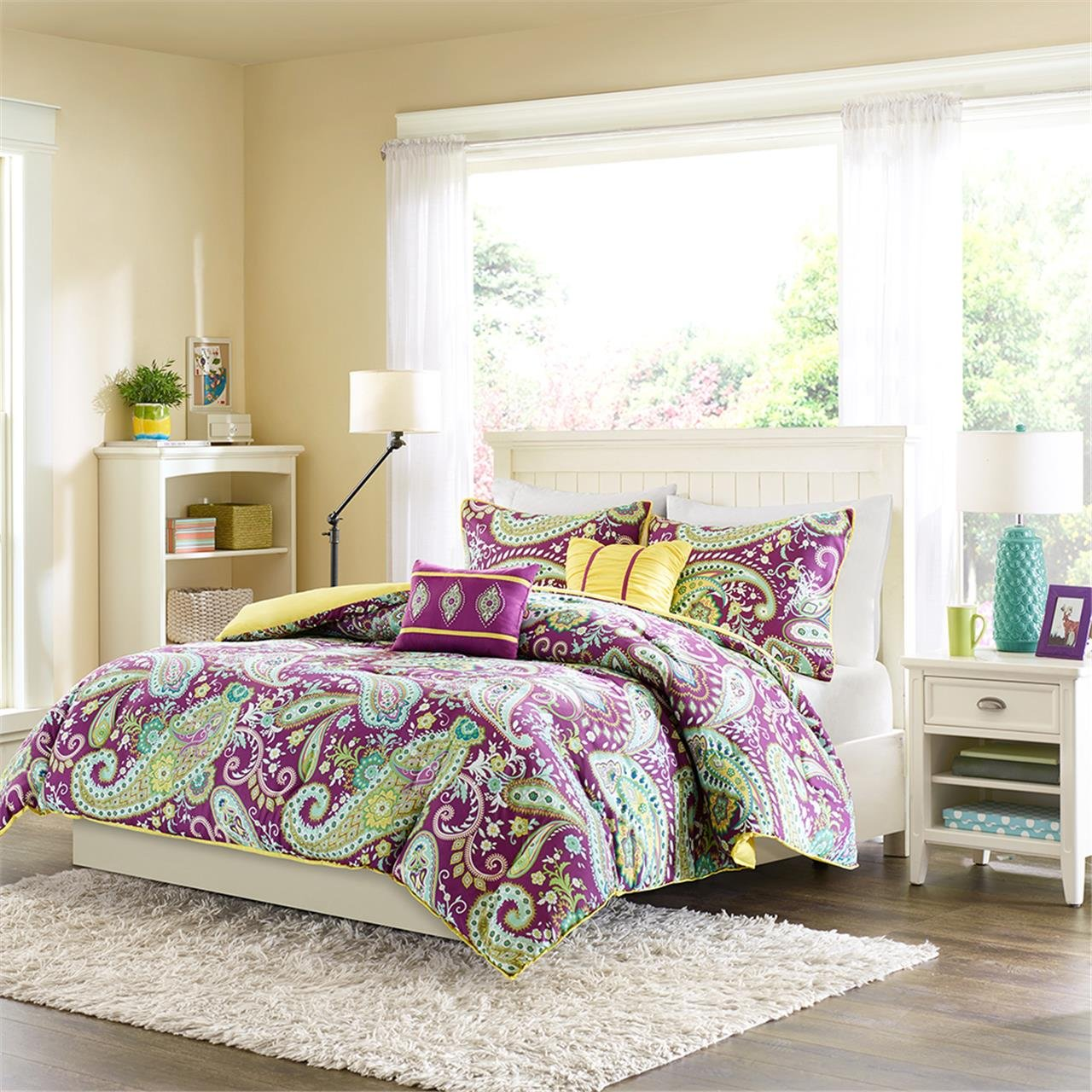 Melissa Multi Piece Comforter Set Purple Twin