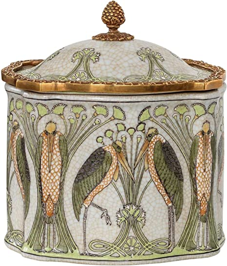 Dose Box Blume Porzellan Messing Antik-Stil 23cm