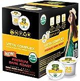 SOLLO VITTA Complex Dark Coffee Pods With Essential Vitamins B1, B5, B6, B9, B12 & D3 For Active Seniors, Immune System…