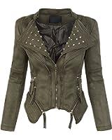 Damen Wildlederoptik Jacke Biker Übergangsjacke Blazer D-181