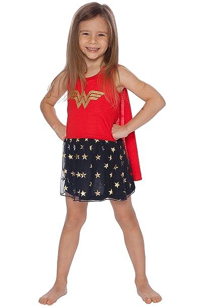 8b1bae0c86906 Wonder Woman Girls Tank Nightgown with Cape