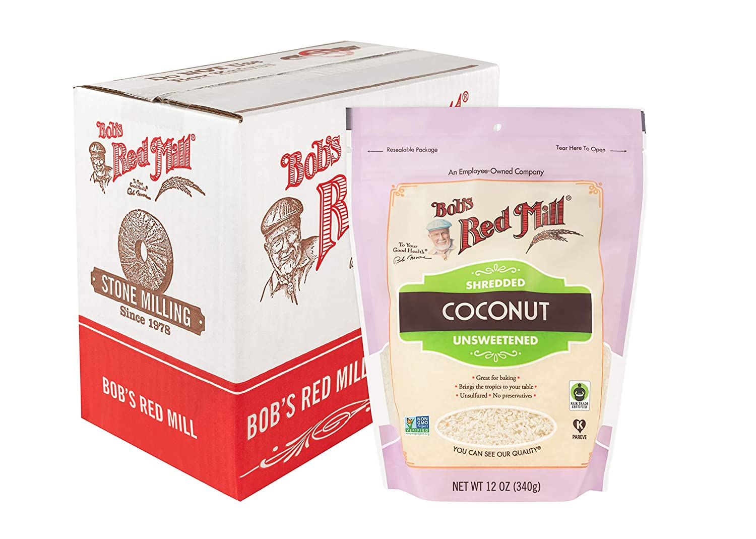 Bob's Red Mill Shredded Coconut (Unsweetened), 12-Ounce (Pack of 4, Stand up Pouch)