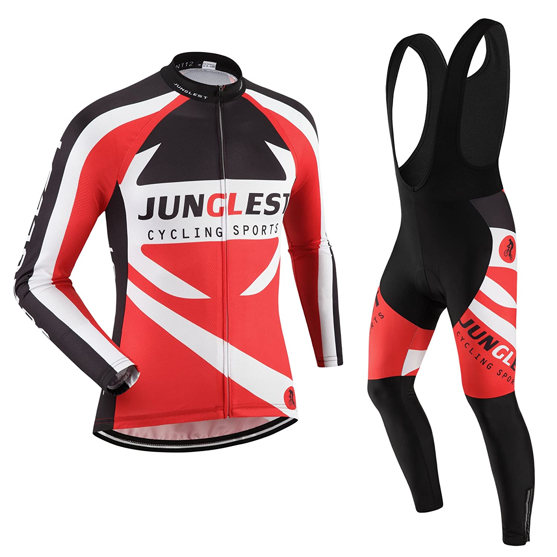 JNL Radtrikot Radhose Herren Langarm Jersey(S5XL,Option Trägerhose,3D Sitzpolster) N112