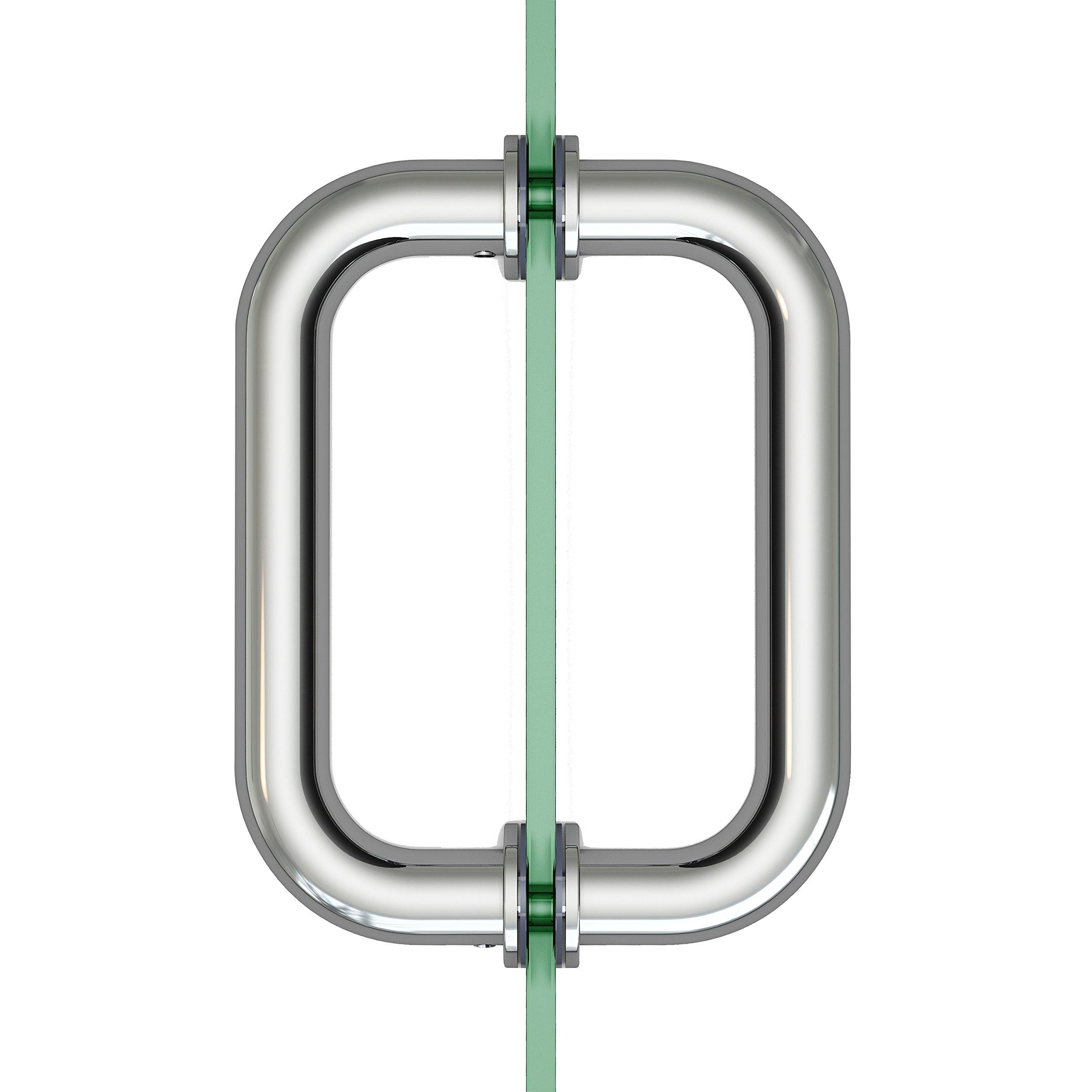 6'' Chrome Frameless Shower Glass Door Pull Handle Back to Back Stainless Steel