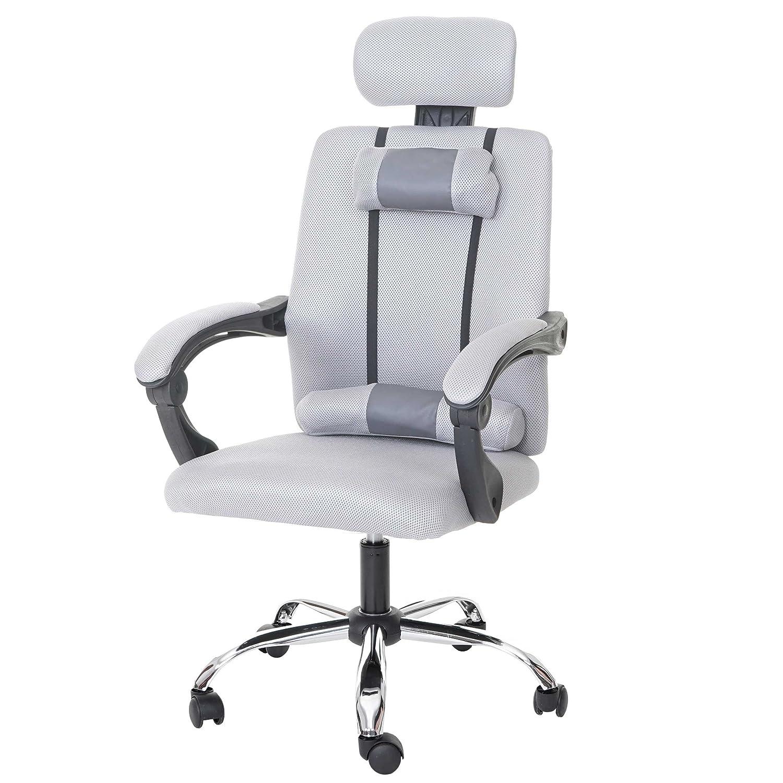 Mendler Jugend-Bürostuhl HWC-A13, Schreibtischstuhl Drehstuhl, Kopfstütze Armlehnen Stoff Textil  grau