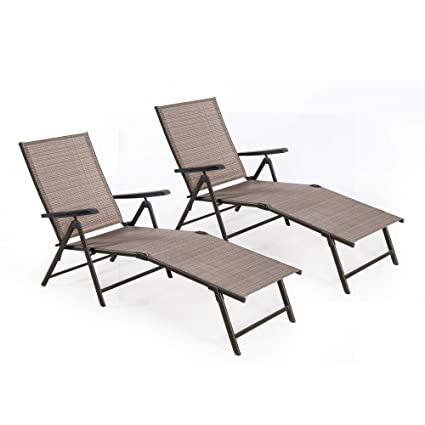 FurniTure Outdoor Chaise Lounge Set Of 2 Outdoor Lounge Chair Patio  Adjustable Folding Chaise Lounger,