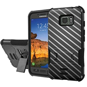 [AT&T] Galaxy [Active S7] Armor Case [NakedShield] [Black/Black] Urban Shockproof Defender [Kick Stand] - [Stripe Texture] for Samsung Galaxy [S7 Active]