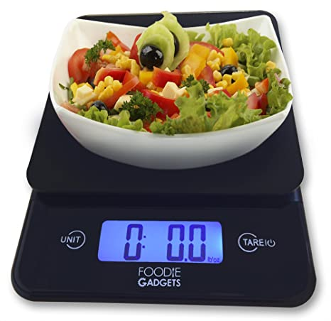 Digital Kitchen Scale (11lb Edition) Grams, Ounce, Kilo, Stylish Black  Glass Weighing Food Scale with Large LCD Back-lit Screen