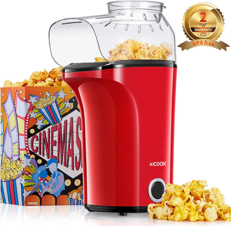 Aicook Palomitero, 1400W Automática Máquina de Palomitas con Gran Capacidad, Aire Caliente Sin Grasa Aceita, Tapa Removible y Libre de BPA, Rojo