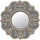 Stonebriar Decorative Round Antique Gray Ceramic Wall Mirror, Vintage Home Décor for Living Room, Kitchen, Bedroom, or Hallwa