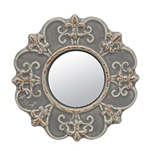 Stonebriar Decorative Round Antique Gray Ceramic Wall Mirror, Vintage Home Décor for Living Room, Kitchen, Bedroom, or Hallway